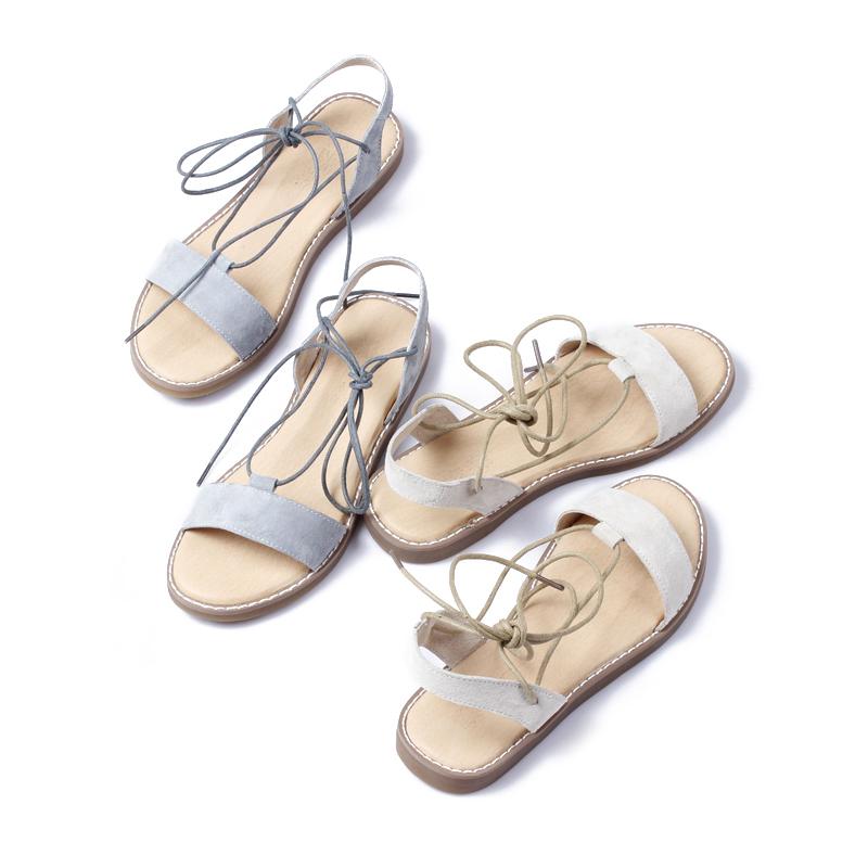 清新时尚风个性百变绑带平底鞋女鞋