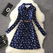 秋冬大码女装加绒休闲甜美碎花长袖连衣裙中长款衬衫打底A字裙子