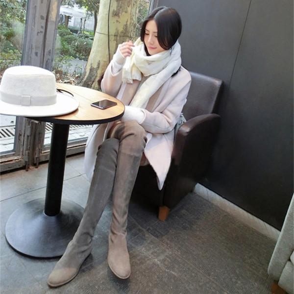 过膝长靴女平底超长筒靴高筒靴子显瘦冬季高跟过膝靴sw5050弹力靴