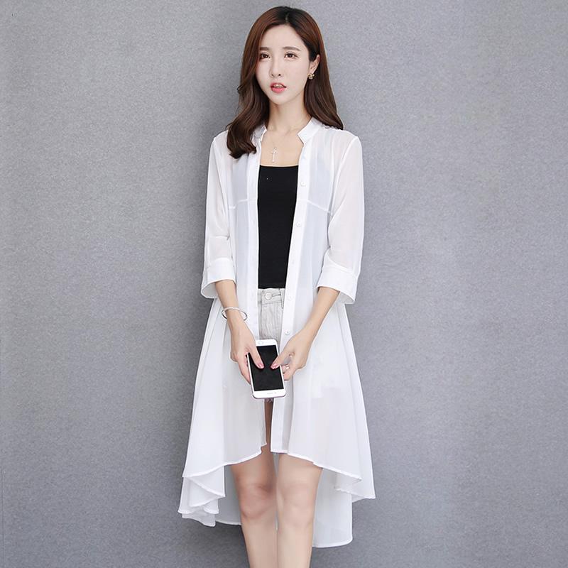 防晒衣女2017夏季新款中长款雪纺开衫外搭薄外套空调衫显瘦大码