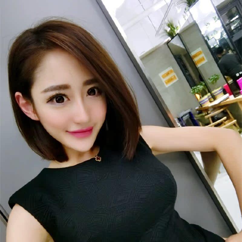 韩国网红同款假发女短发bobo头蓬松自然短直发学生头沙宣中分刘海图片