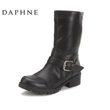 Daphne/达芙妮正品 秋靴时尚马丁靴侧拉链中筒靴女清仓1013605006