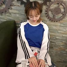 秋装女装韩版宽松条纹喇叭袖长袖T恤原宿风情侣款上衣打底衫学生