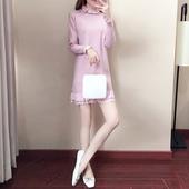 2017冬裙新款韩版蕾丝荷叶边中长款针织连衣裙加厚内搭打底毛衣裙