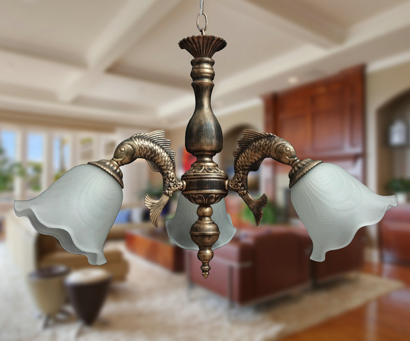 欧式压铸工艺鲤鱼型古铜复古吊灯现代简约创意田园风美式个性灯具