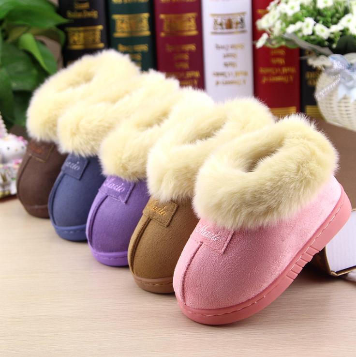 秋冬新款加厚保暖男女童棉鞋低价促销纯色可爱毛绒宝宝外出棉鞋