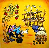 弹弓打麻雀农村儿童酒店饭店农家乐院装饰户县农民画尺寸25x25cm