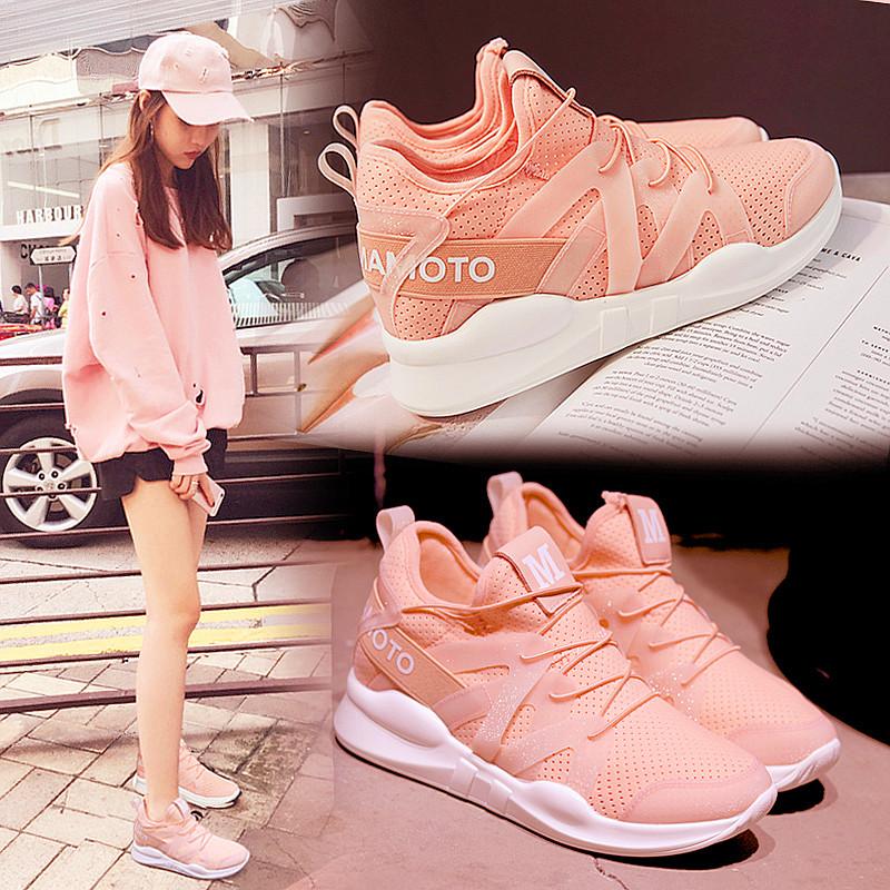 运动鞋透气系带跑步女韩版百搭平底学生休闲鞋