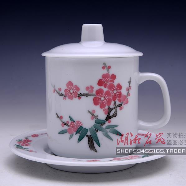 醴陵瓷器红官窑釉下彩手绘家用陶瓷泡茶杯办公室杯带盖碟包邮