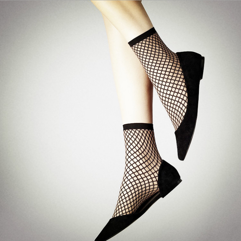 春夏季打底性感眼丝袜镂空部位短袜复古洞网格女袜2双装男性网袜渔网最的黑色鱼网图片