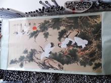 国画书画字画特价 花鸟画 六尺松鹤延年 已装裱客厅装饰收藏 1