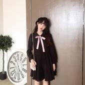 2016秋冬韩版蝴蝶结娃娃领高腰小黑裙连衣裙长袖修身复古赫本风女