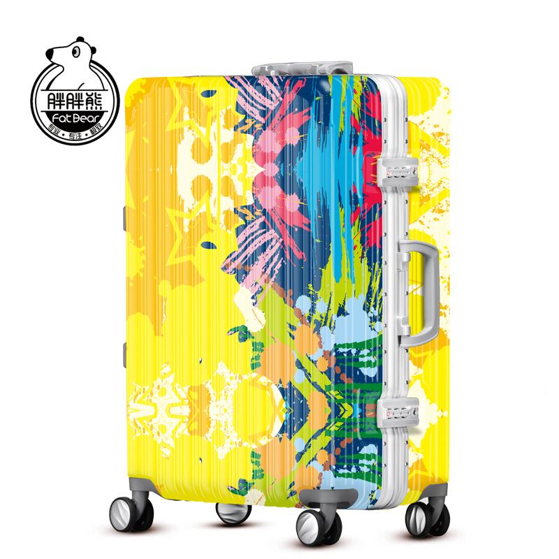 胖胖熊行李箱拉杆万向轮24 登机箱20密码箱个性超轻旅行箱潮fd134