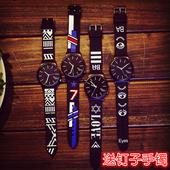 韩国ulzzang软妹个性潮流手表女中学生韩版简约创意条纹表带男表