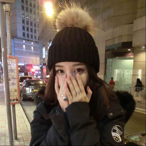 帽子女冬季韩版百搭学生毛球毛线帽潮秋冬天套头帽加厚可爱针织帽