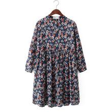 雪纺连衣裙九分袖 F212 长款 包邮 甜美花朵印花 秋季新款