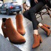 时尚 粗跟中跟短靴女靴百搭潮 春秋冬季尖头马丁靴女英伦风单靴韩版