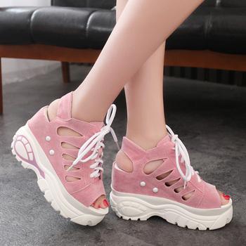 内增高凉鞋女坡跟防水台松糕鞋20