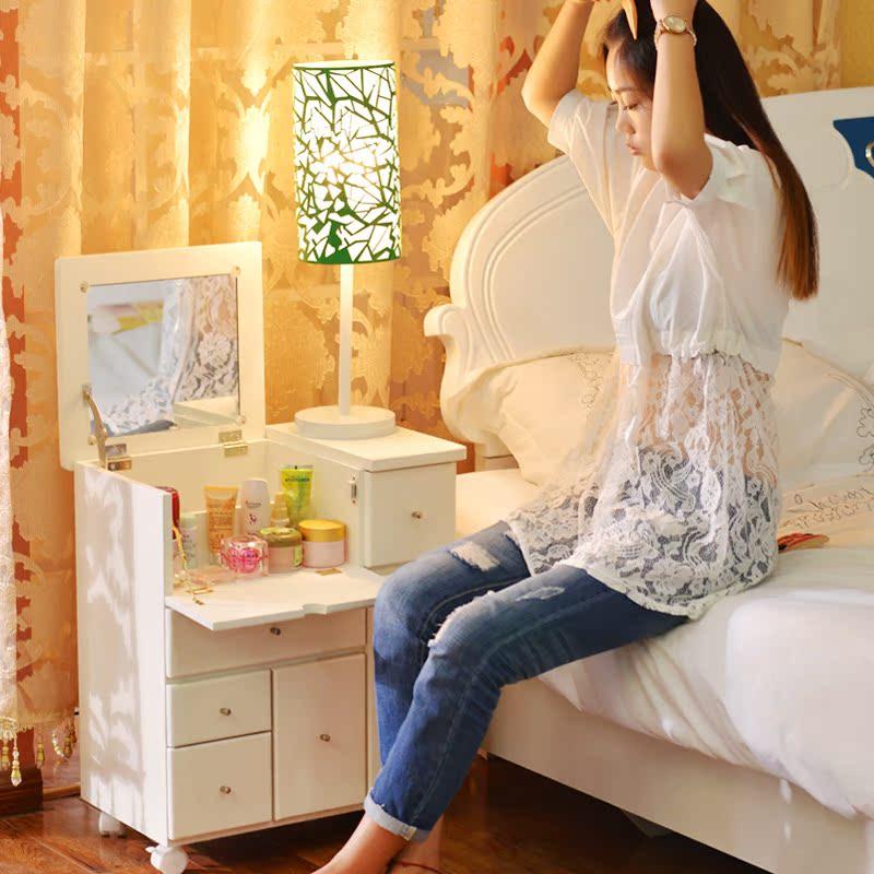 梳妆台小户型化妆桌卧室迷你翻盖带镜可移动床头边柜