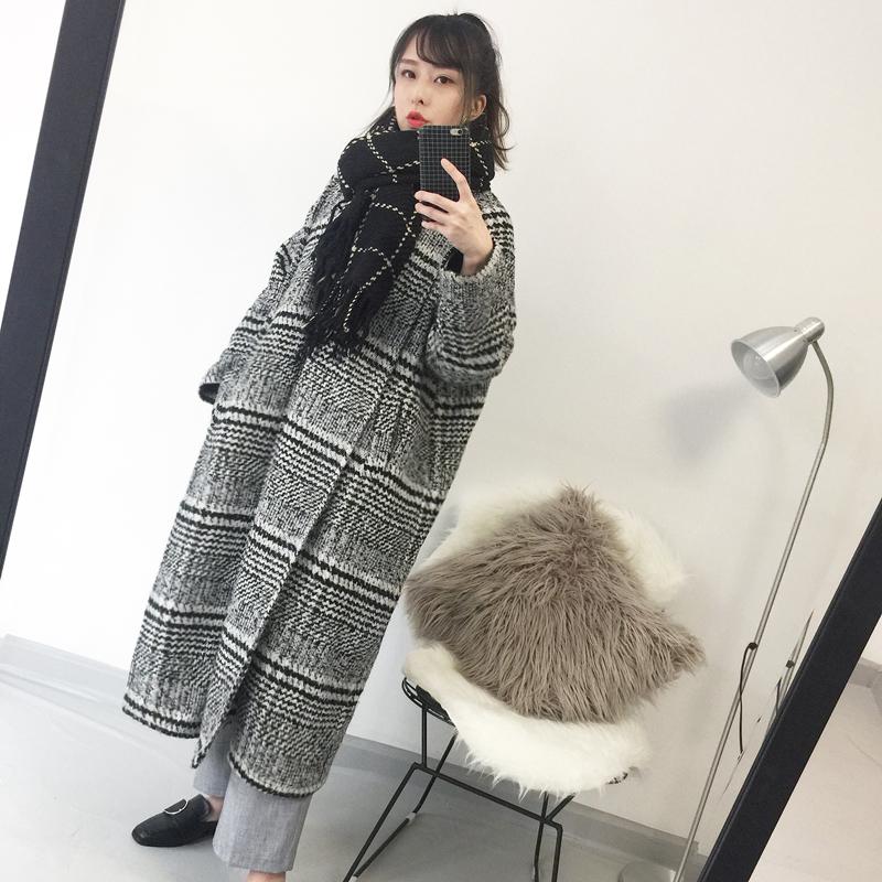 冬季韩OVERSIZE加厚复古过膝超长款千鸟格毛呢大衣外套女宽松格子