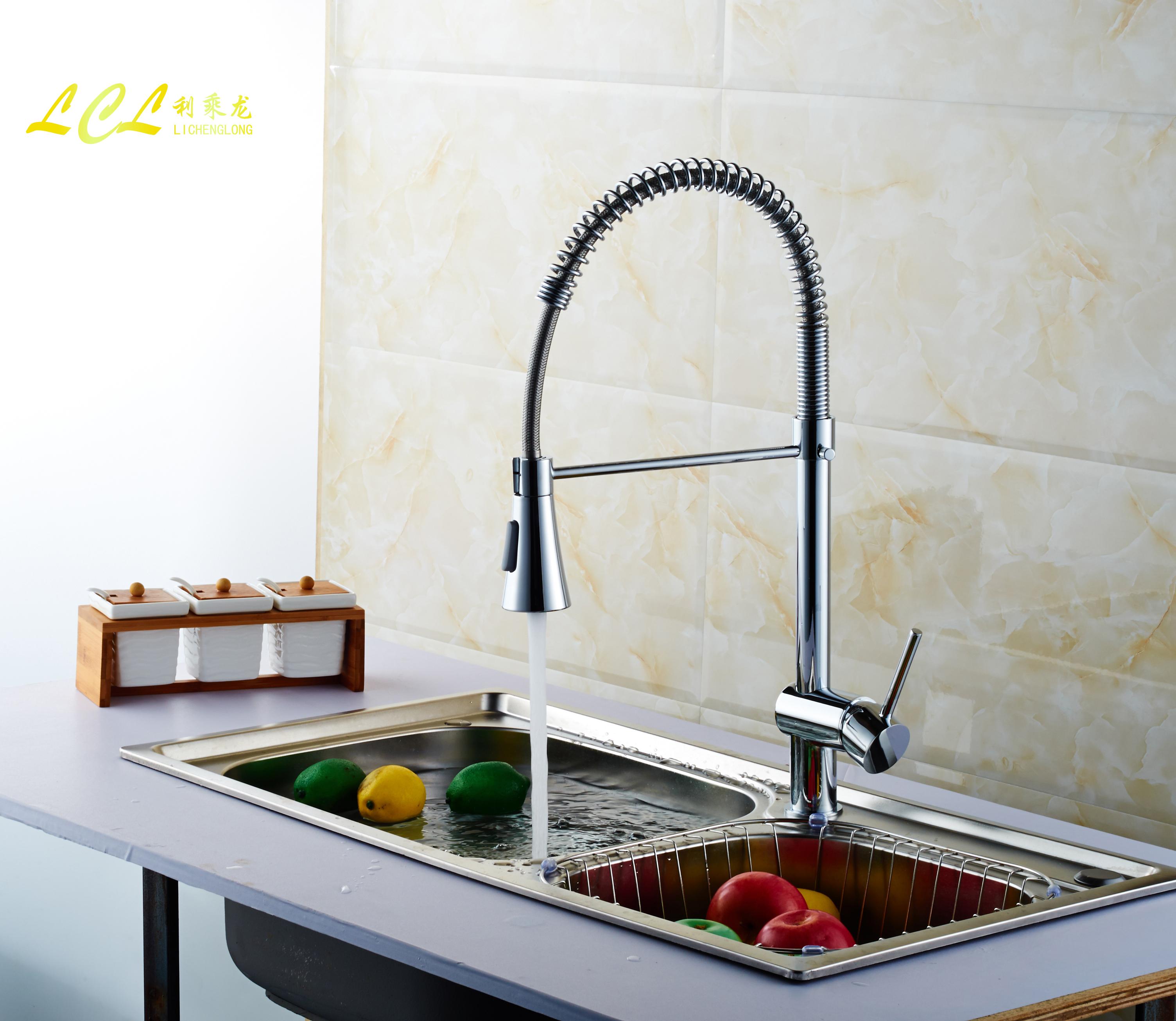 家装五金厂家直销利乘龙厨房菜盆冷热水龙头304不锈钢材料厨房龙