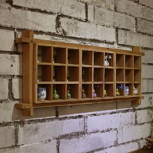 九间房免漆老榆木墙上置物架茶家具禅意多宝格墙上组合瓷器方格架
