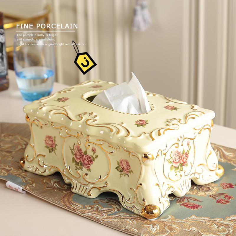 象牙瓷欧式纸巾盒奢华复古家居抽纸盒婚庆乔迁礼品样