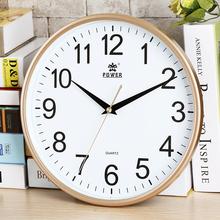 霸王圆形挂钟静音客厅简约时尚创意挂表现代家居电子石英钟表包邮