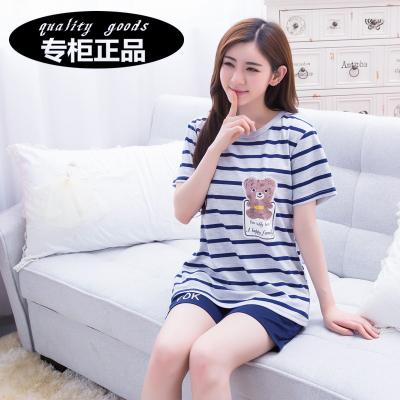 睡衣女夏季纯棉短袖短裤薄款套头套装韩版可爱卡通服