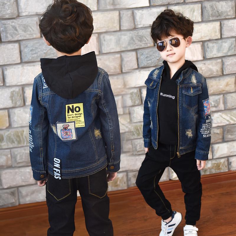纯棉韩版立领外套牛仔儿童中大童夹克长袖春秋上衣男童