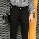 黑色打底裤女裤外穿春秋季2017新款韩版百搭九分大码小脚铅笔长裤