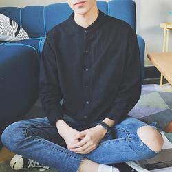 日系夏季潮流纯色个性男衬衣林弯弯LES帅T青年时尚休闲男长袖衬衫