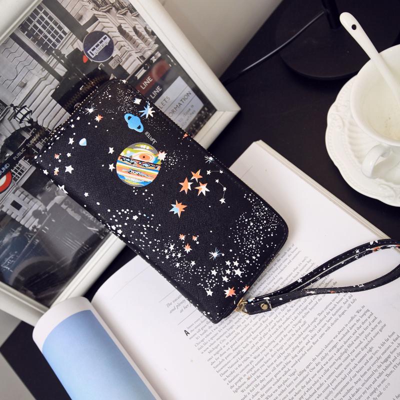 2016新款时尚手拿包女包手机包零钱包卡包长款方形包印花潮流PU包