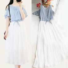 少女学院风条纹连衣裙女装 可爱学生雪纺百褶露肩中长裙子 夏季韩版