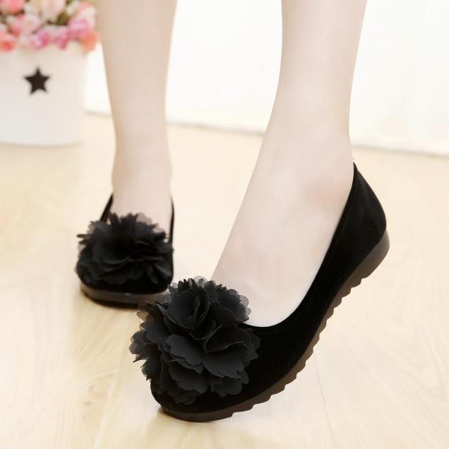 孕妇黑色坡跟工作女鞋花朵老北京单鞋夏季布鞋