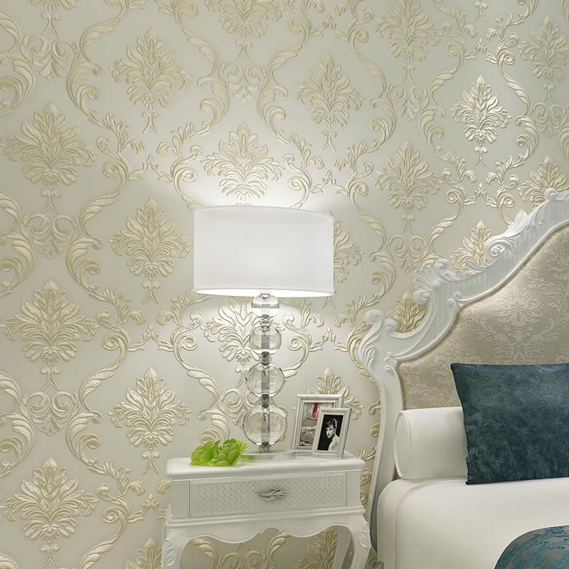 高档奢华欧式大马士革3D立体精压无纺壁纸 客厅卧室背景墙纸包邮
