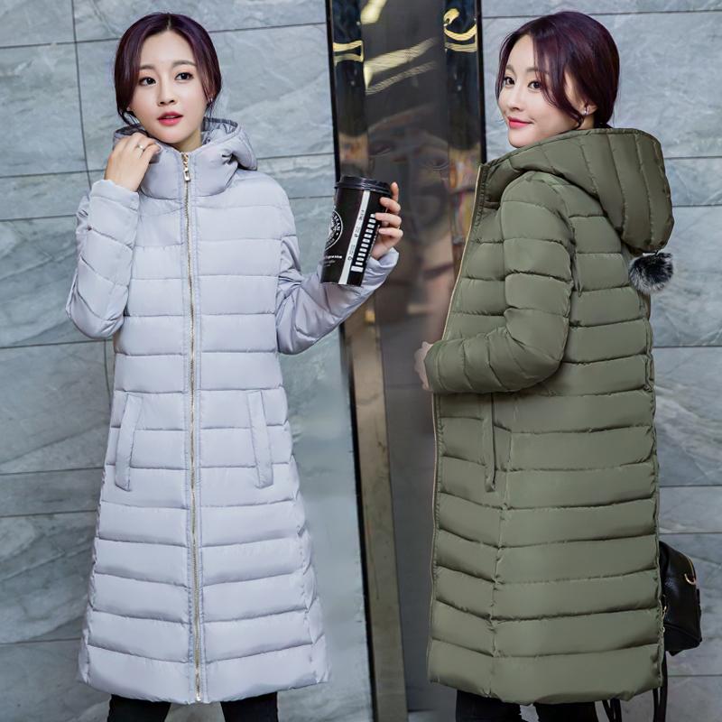 时尚修身外套棉衣冬装百搭大码连帽长款简约棉服女韩版加厚羽绒