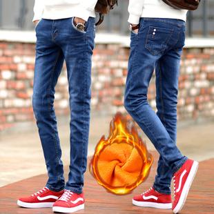男士牛仔裤修身小脚秋冬韩版潮流长裤冬季学生加绒加厚男裤子男装