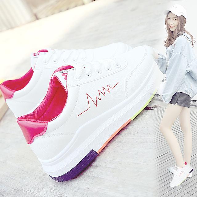 女潮 女学生韩版 厚底皮面白色透气板鞋 原宿2017夏秋新款 街拍小白鞋