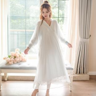 复古宫廷长袖睡裙女秋季 绵绸睡衣长款韩版蕾丝甜美公主家居服秋