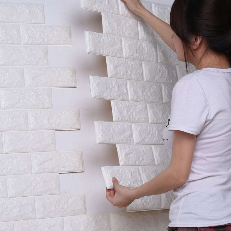 3d立体墙贴幼儿园防撞儿童自粘墙纸壁纸砖纹防水创意贴背景墙装饰
