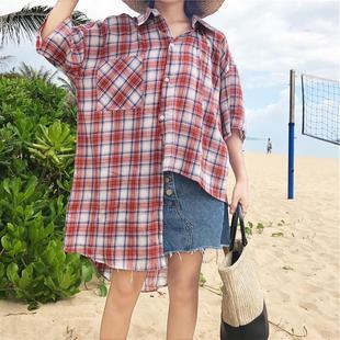 宽松不规则格子短袖衬衫中长款防晒衫上衣女厂家直销女装批发夏装