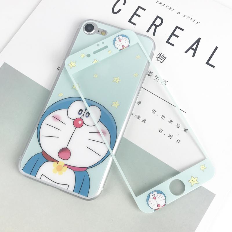 卡通iphone6s钢化膜可爱蓝胖子机器猫苹果6plus前后全屏彩膜玻璃7