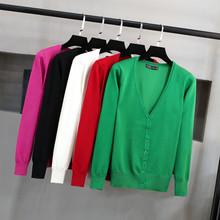 【针织衫】针织开衫女 V领韩版潮短款毛衣修身显瘦大码外搭长袖春秋装小外套