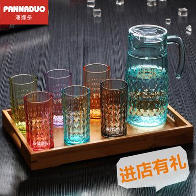 彩色家用耐热水杯无铅玻璃杯创意杯子茶杯啤酒果汁冷水杯水壶套装