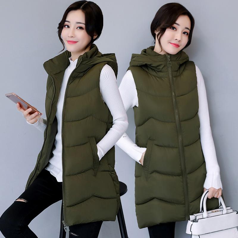 秋冬马甲女新款中长款修身保暖坎肩无袖潮流韩版棉马甲外套