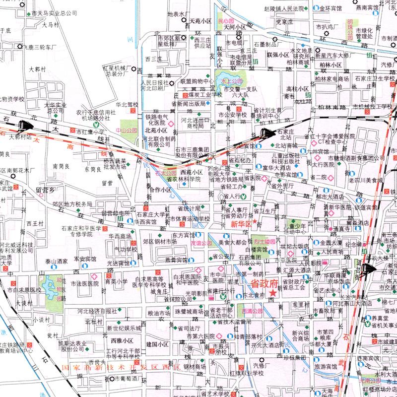 石家庄市详图 自驾游 张掖 中国分省系列地图册图片