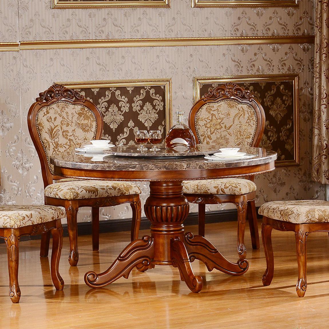 欧式餐桌椅组合圆形实木饭桌