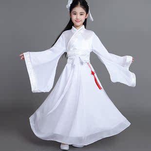 女童古代衣服儿童古装女汉服童装古装仙女装公主裙古筝服装中大童