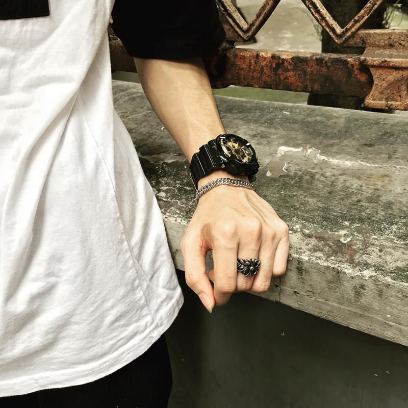 复古戒指原创欧美潮牌男士个性时尚情侣对戒钛钢指环尾戒学生饰品